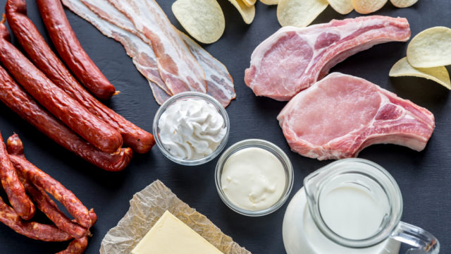 A variety of foods that are saturated fats